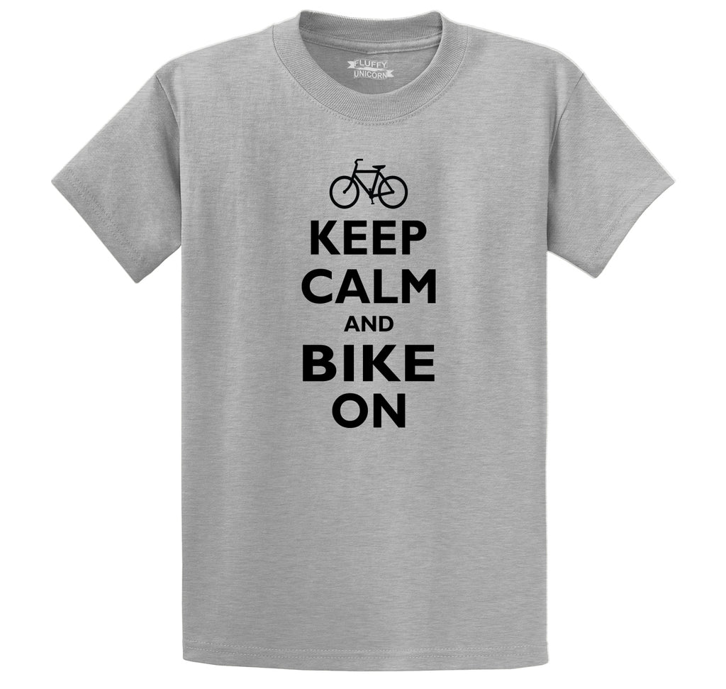 Keep Calm & Bike On Funny BicycleT Shirt Men's Heavyweight Big & Tall Cotton Tee Shirt