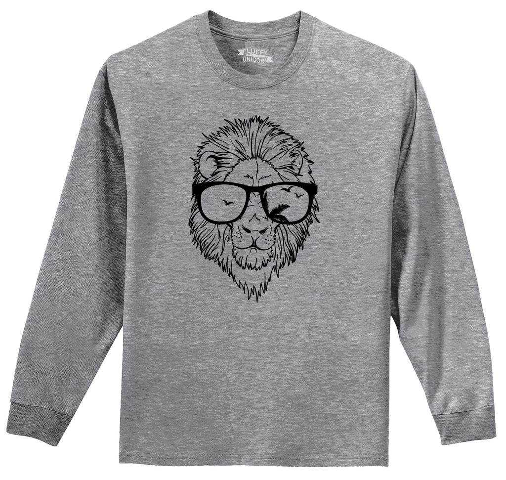 Lion Face With Sunglasses Graphic Tee Mens Long Sleeve Tee Shirt