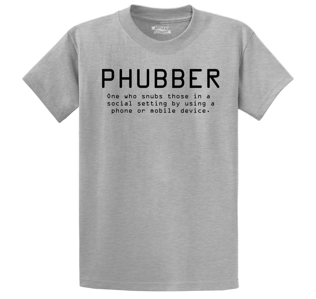 Phubber Snubs in Social Setting on Phone Funny Tee Technology Humor Shirt Men's Heavyweight Big & Tall Cotton Tee Shirt