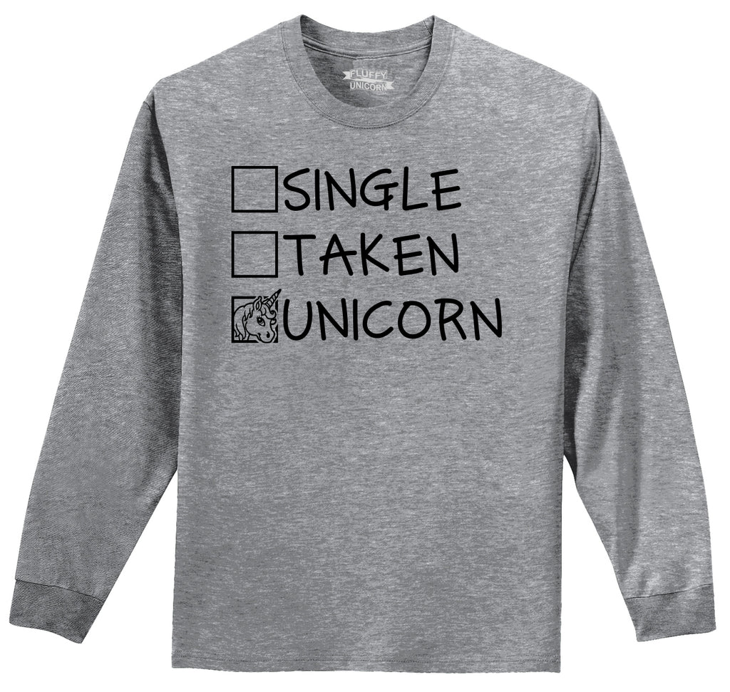 Single Taken Unicorn Mens Long Sleeve Tee Shirt