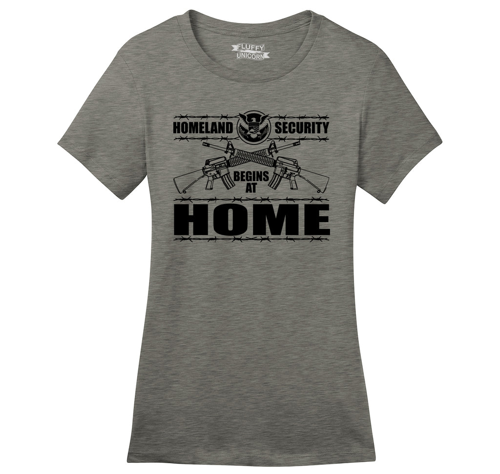 Homeland Security Begins At Home Ladies Ringspun Short Sleeve Tee