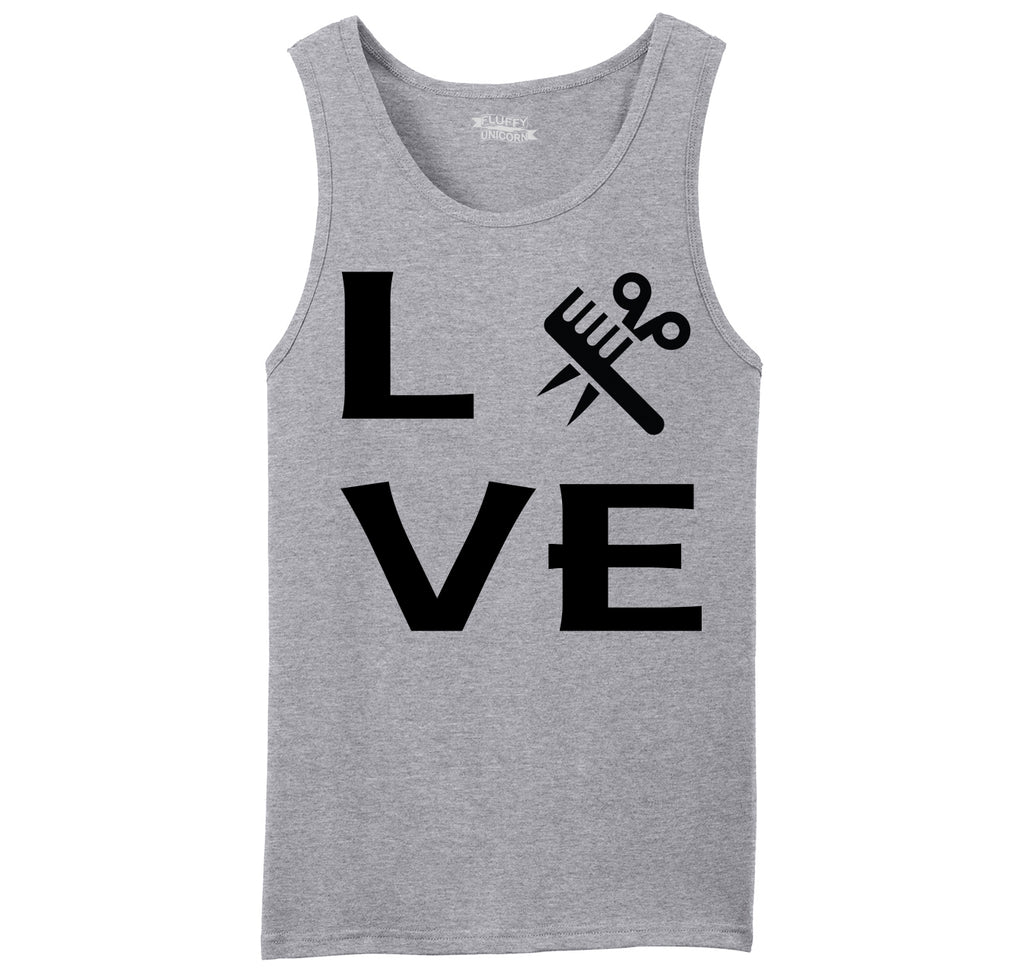 Love Hairstylist Cute Barber Gift Tee Mens Sleeveless Tank Top