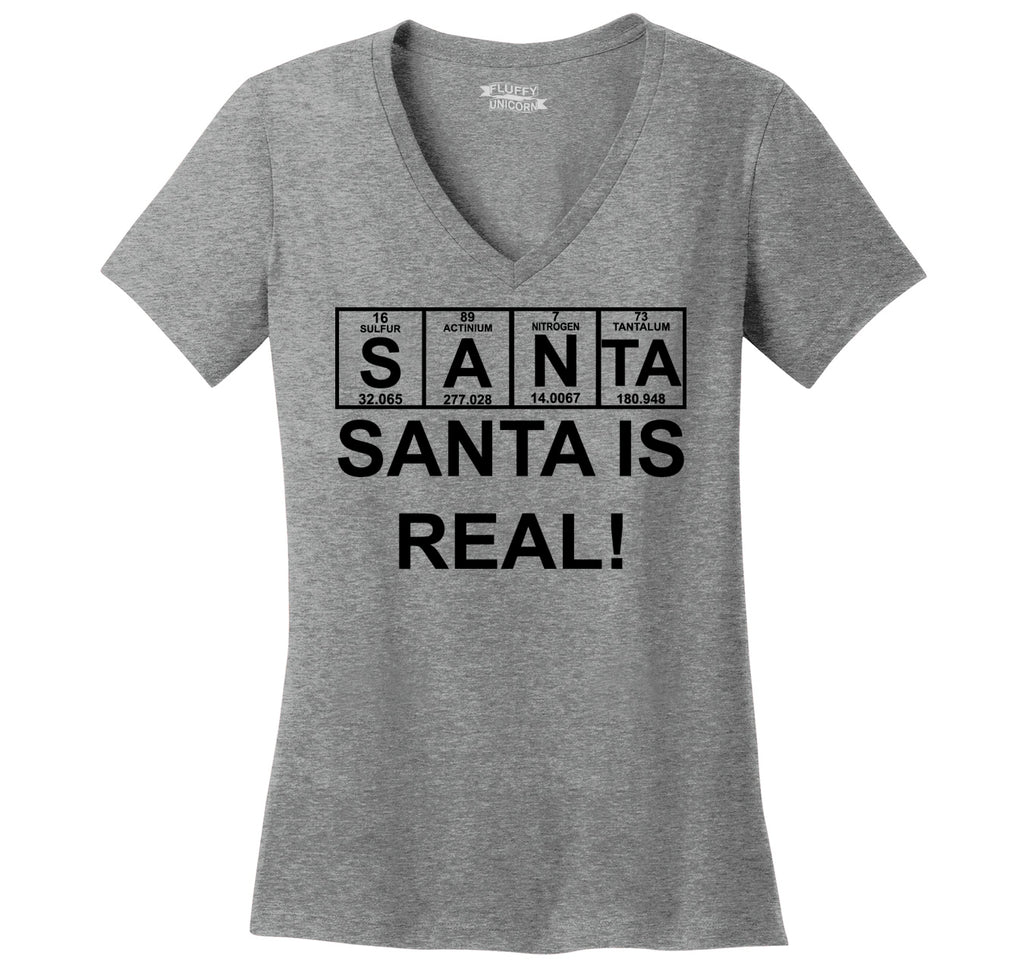 Santa Is Real Ladies Ringspun V-Neck Tee