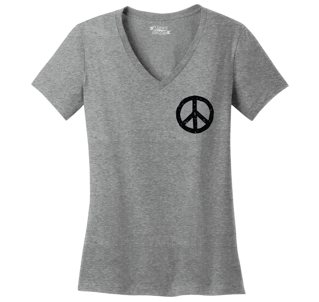 Peace Chest Print Peace & Love Tee Ladies Ringspun V-Neck Tee