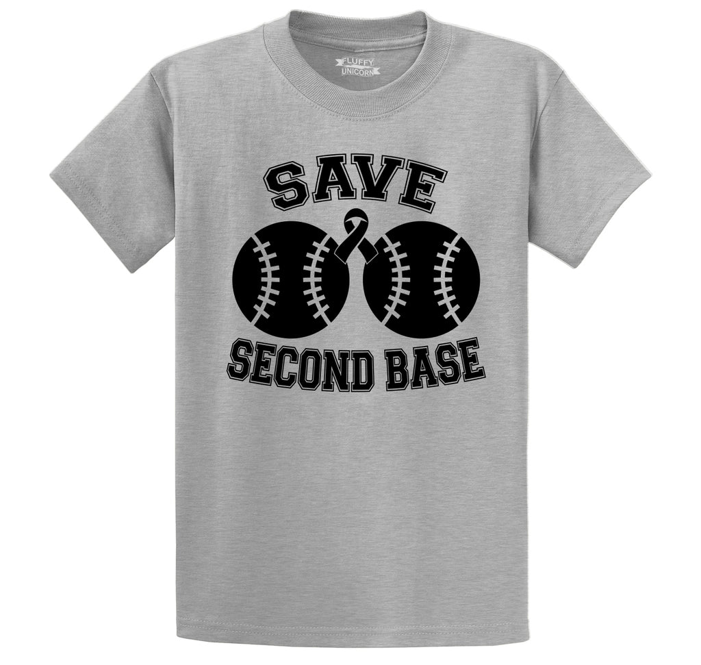 Save Second Base Cute Breast Cancer Awareness Shirt Men's Heavyweight Big & Tall Cotton Tee Shirt