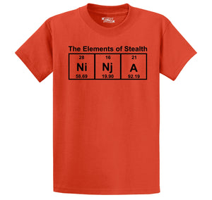 Ninja The Elements Of Stealth Men's Heavyweight Big & Tall Cotton Tee Shirt