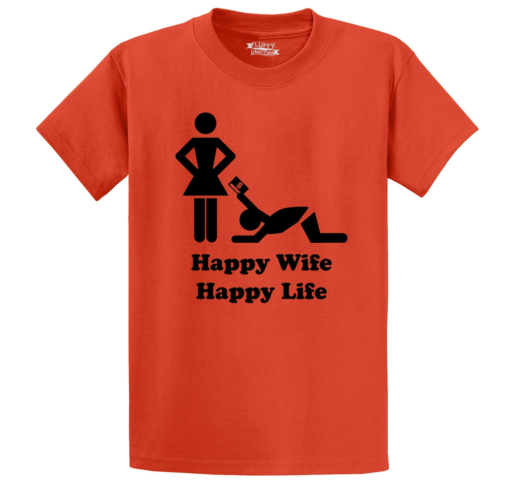 Happy Wife Happy Life - Credit Card Men's Heavyweight Big & Tall Cotton Tee Shirt