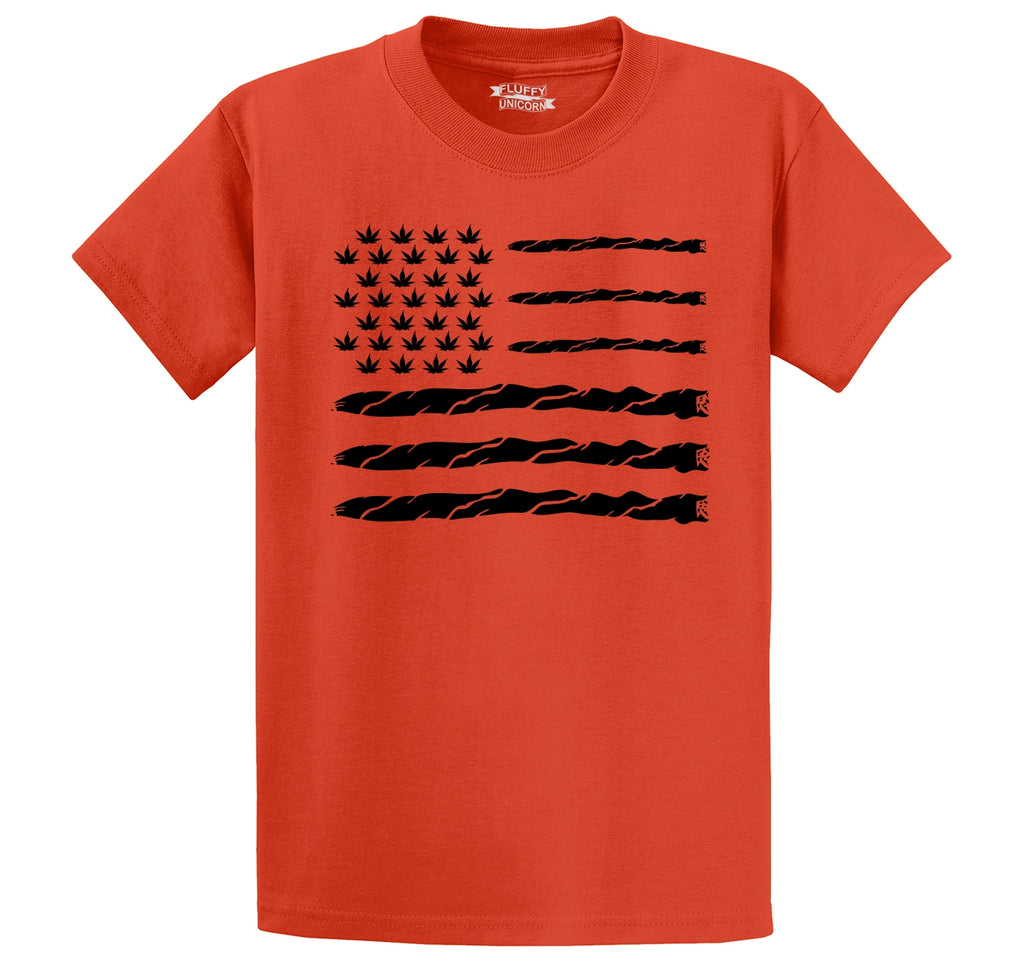 Weed Joint American Flag Men's Heavyweight Cotton Tee Shirt