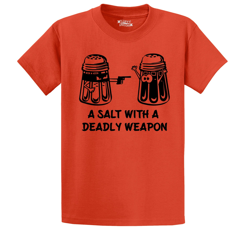 A Salt Asault With A Deadly Weapon Funny Gun Food Humor Tee Men's Heavyweight Cotton Tee Shirt