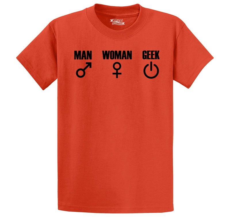 Man Woman GEEK Men's Heavyweight Cotton Tee Shirt