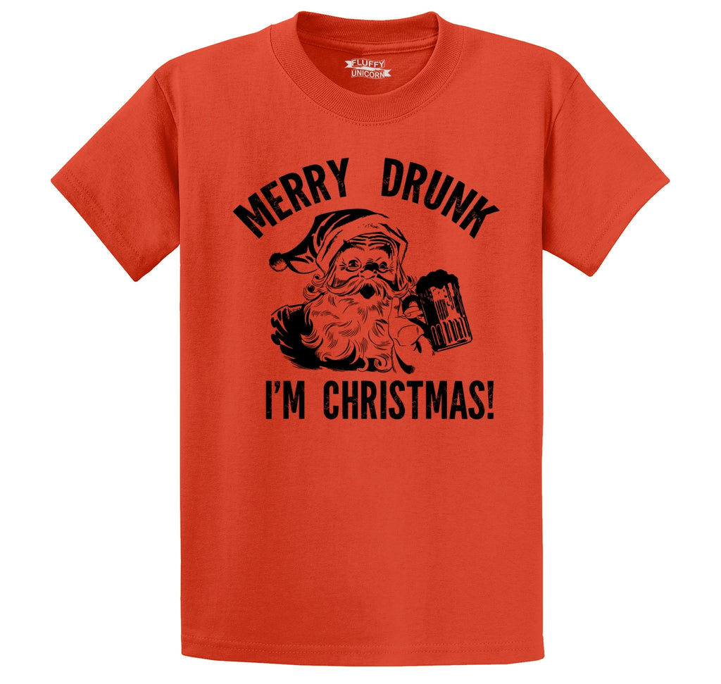 Merry Drunk I'm Christmas Men's Heavyweight Big & Tall Cotton Tee Shirt