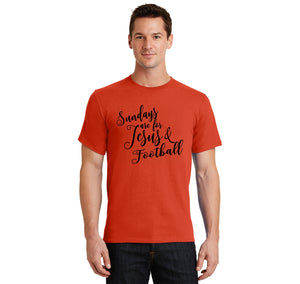 Sundays Are For Jesus & Football Men's Heavyweight Big & Tall Cotton Tee Shirt
