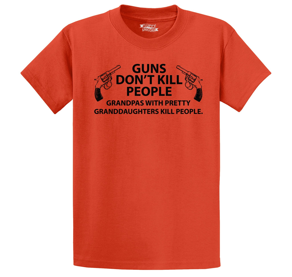 Guns Don't Kill People Grandpas Men's Heavyweight Big & Tall Cotton Tee Shirt
