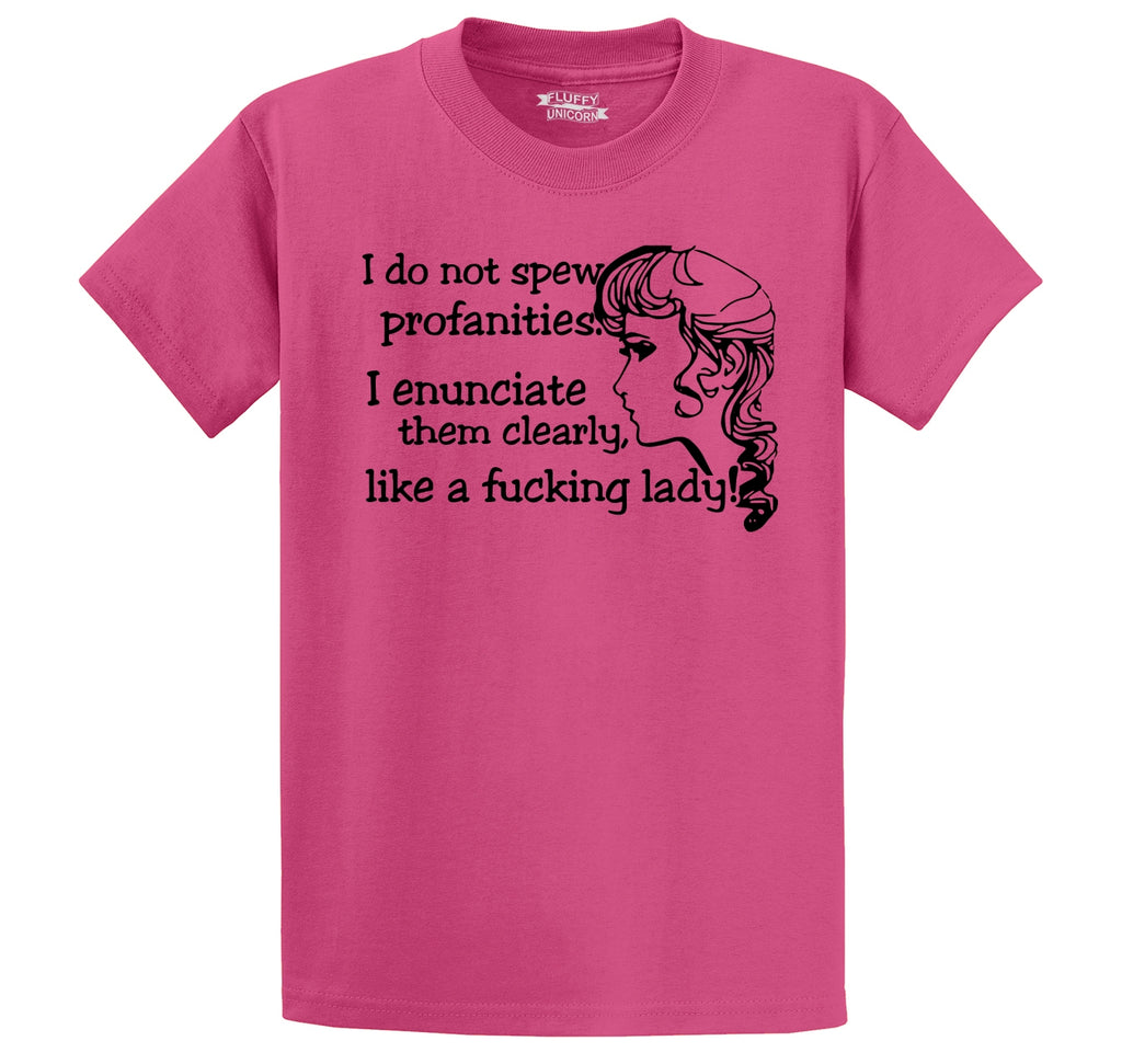 Don't Spew Profanities Enunciate Clearly Like Lady Funny Tee Cuss Party Wife Gift Tee Men's Heavyweight Big & Tall Cotton Tee Shirt