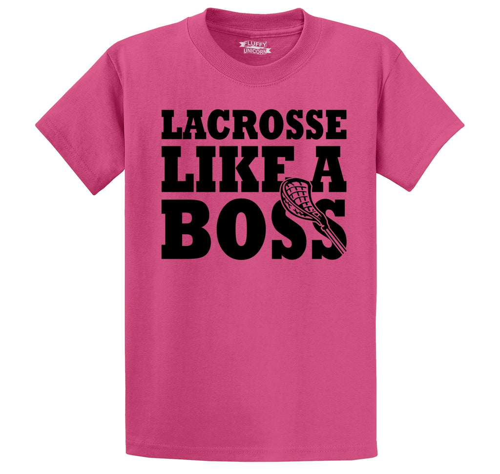 Lacrosse Like A Boss Men's Heavyweight Cotton Tee Shirt