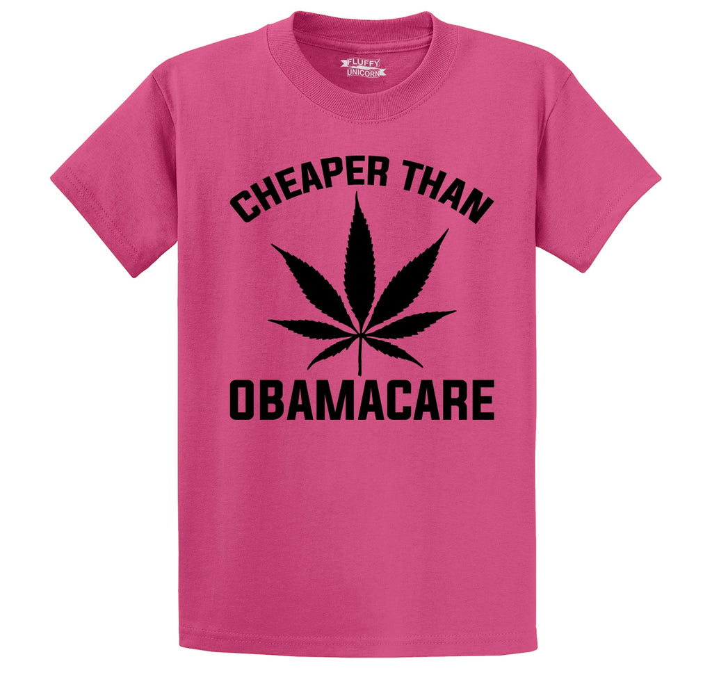 Marijuana - Cheaper Than ObamaCare Men's Heavyweight Big & Tall Cotton Tee Shirt