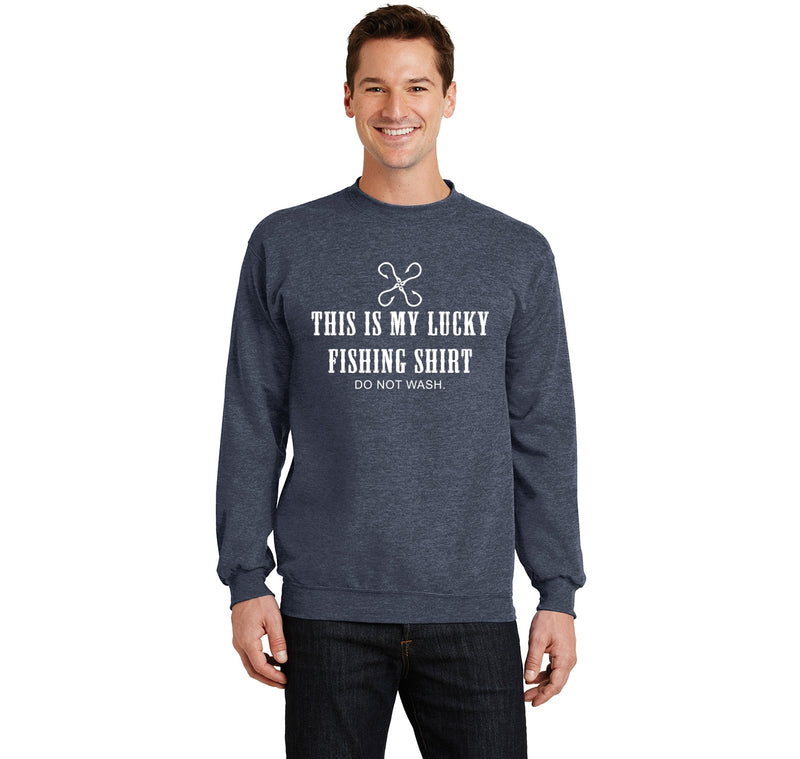 This Is My Lucky Fishing Shirt Do Not Wash Crewneck Sweatshirt