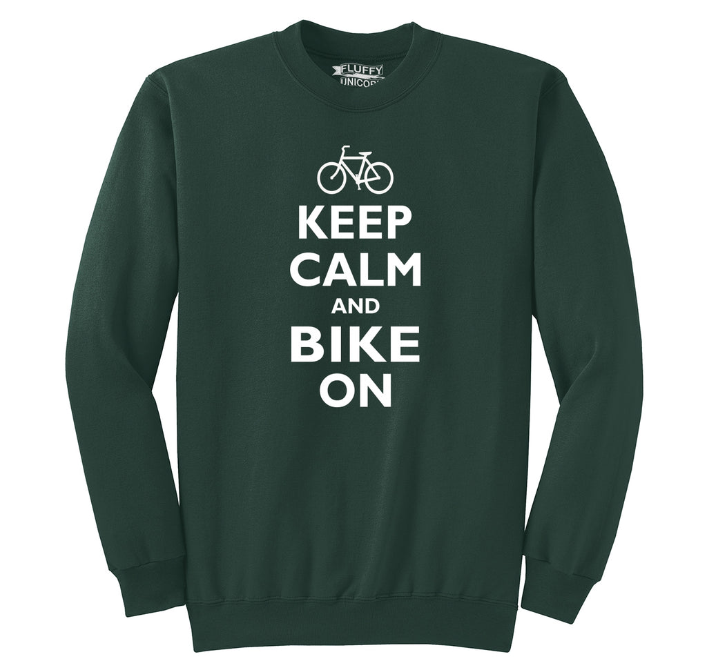 Keep Calm & Bike On Funny BicycleT Shirt Crewneck Sweatshirt