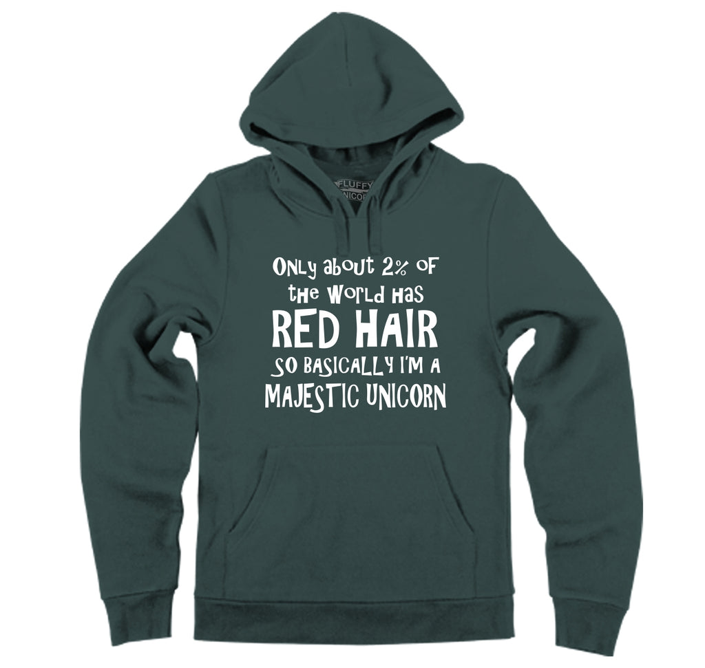 2% Of The World Has Red Hair Majestic Unicorn Hooded Sweatshirt