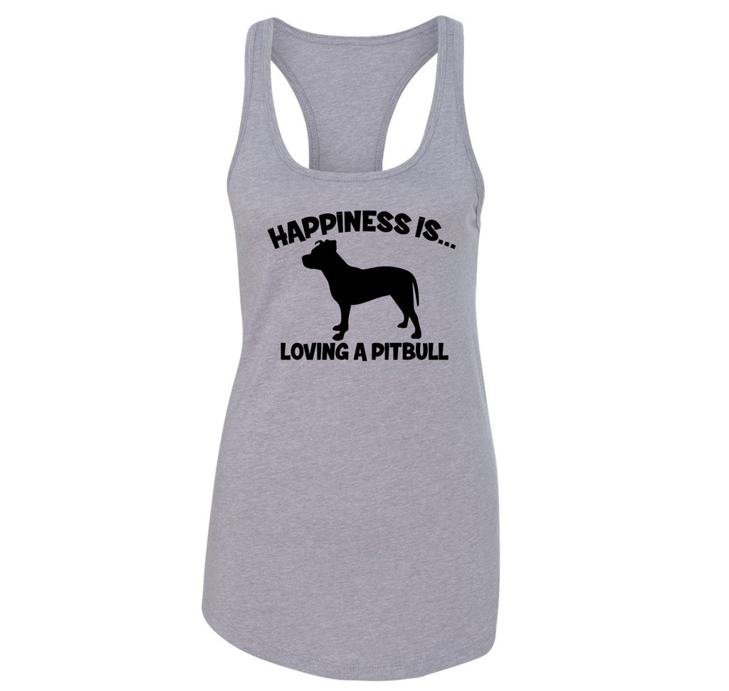 Happiness Is Loving A Pitbull Ladies Racerback Tank Top
