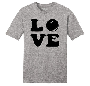 Love Bowling Big Print Mens Ringspun Cotton Tee Shirt