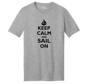 Keep Calm & Sail On Funny Sailor Shirt Mens Short Sleeve Ringspun V Neck