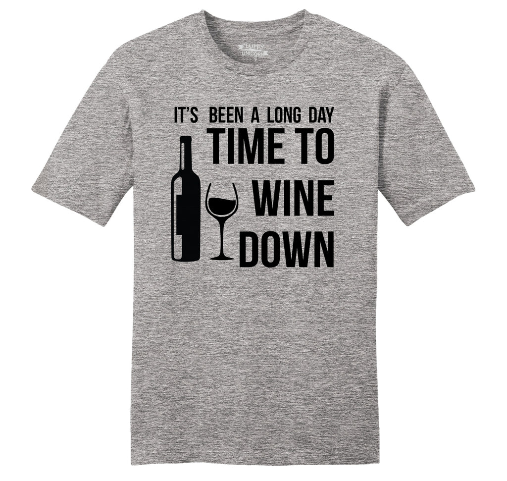 Long Day Time To Wine Down Funny Alcohol Party Tee Mens Ringspun Cotton Tee Shirt