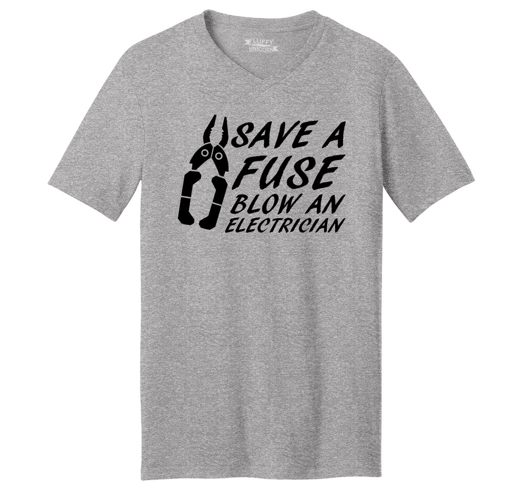 Save A Fuse Blow An Electrician Funny Sexual Gift Tee Mens Short Sleeve Ringspun V Neck