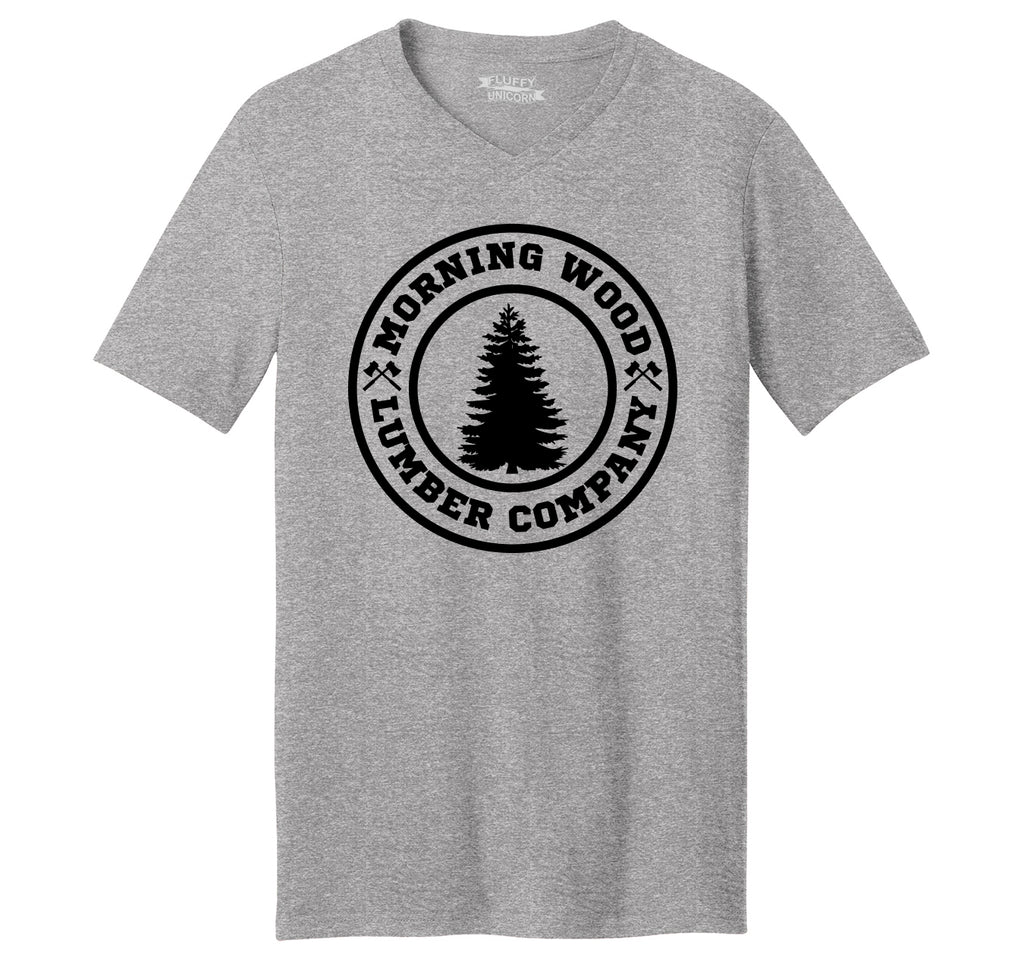 Morning Wood Lumber Company Mens Short Sleeve Ringspun V Neck