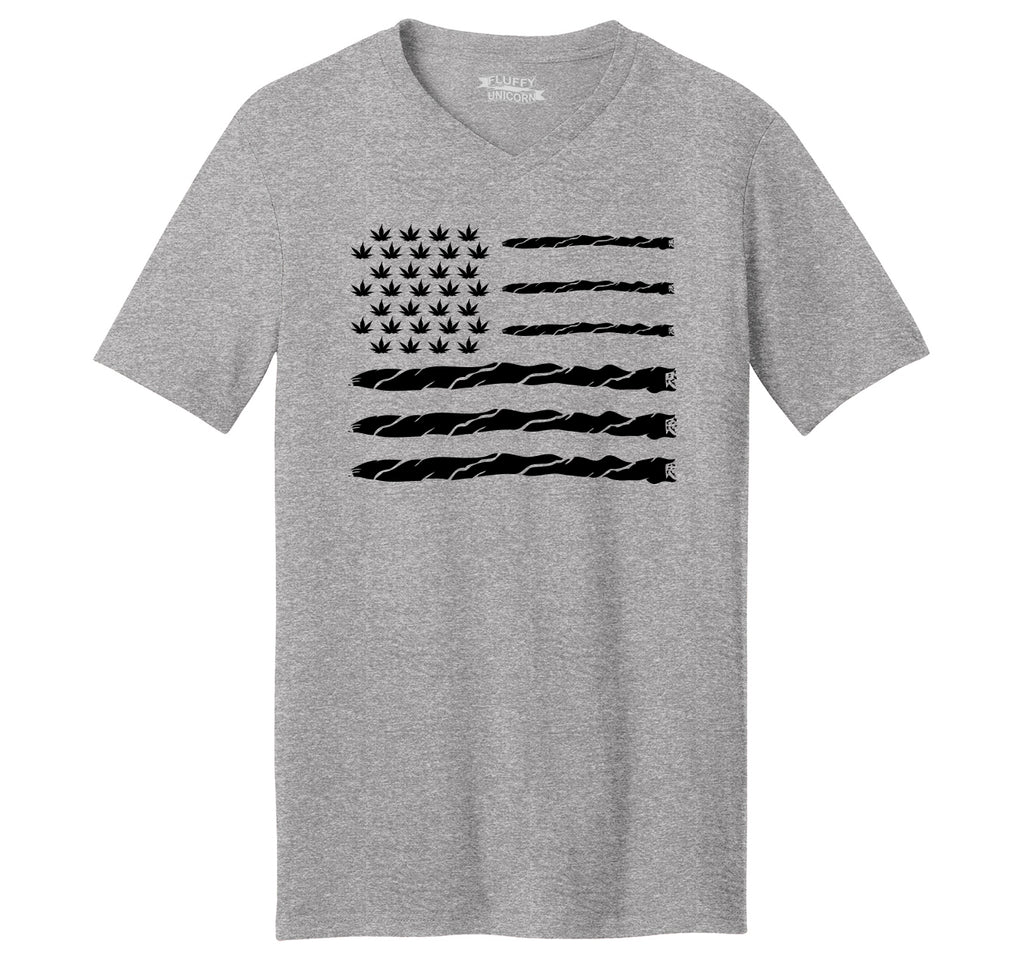 Weed Joint American Flag Mens Short Sleeve Ringspun V Neck