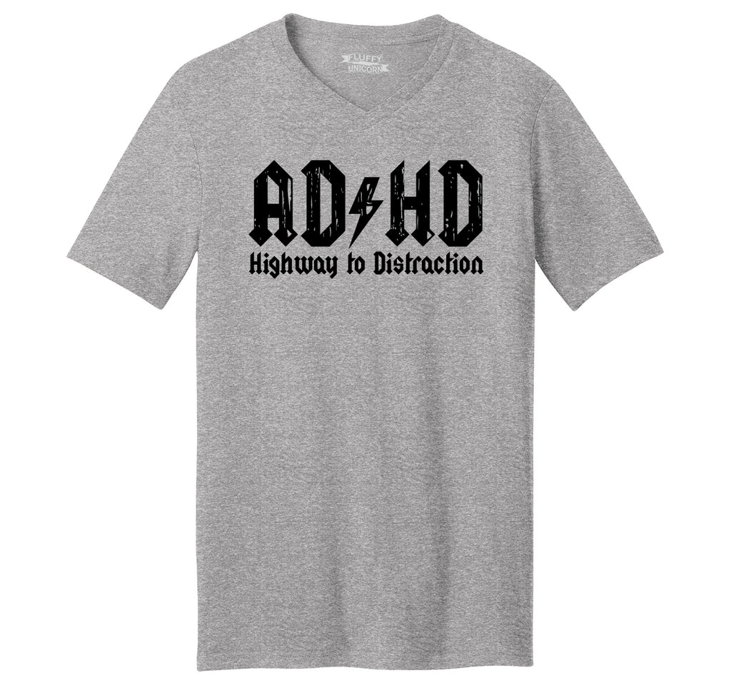 ADHD Highway To Distraction Funny T Shirt Cute Music Parody Party Tee Mens Short Sleeve Ringspun V Neck