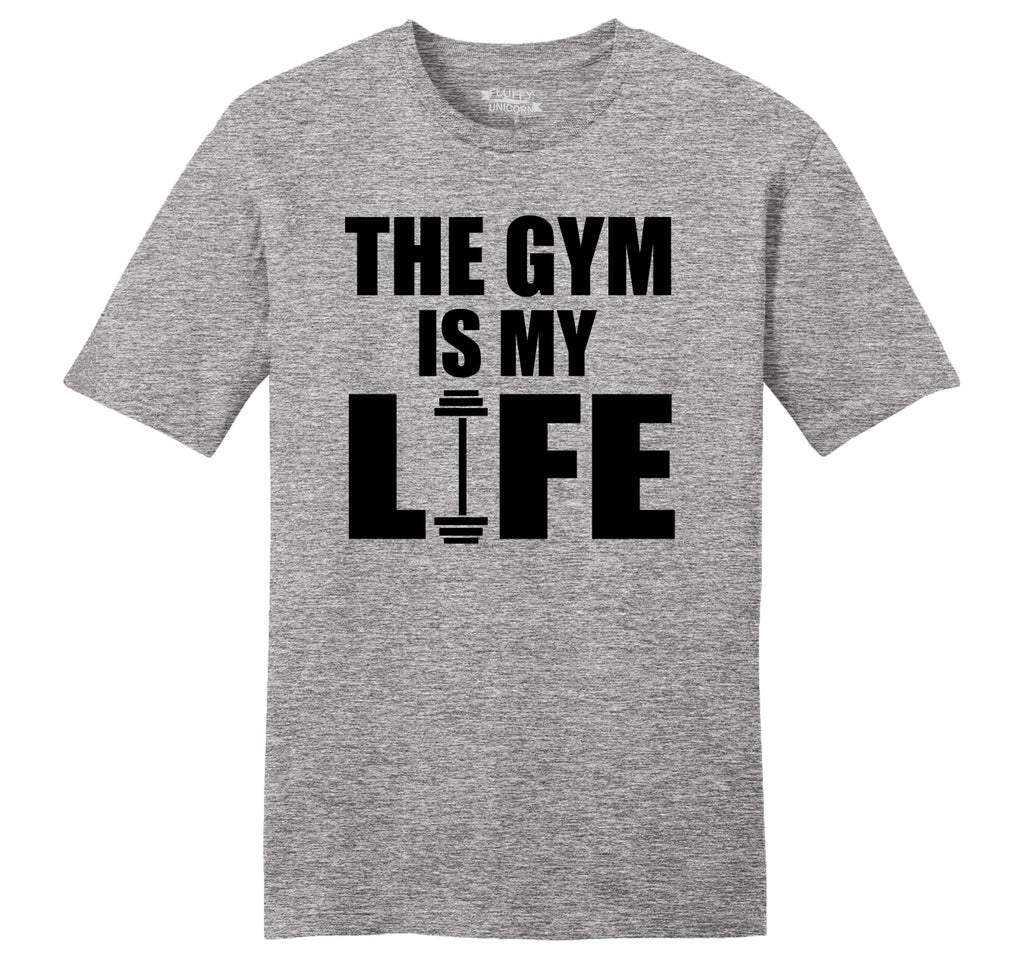 The Gym Is My Life Funny Workout Gym Trainer Gift Shirt Mens Ringspun Cotton Tee Shirt