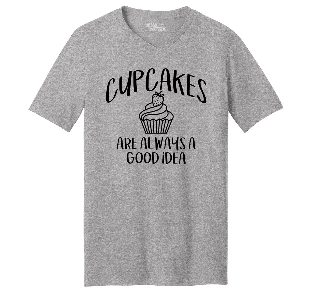 Cupcakes Are Always A Good Idea Mens Short Sleeve Ringspun V Neck