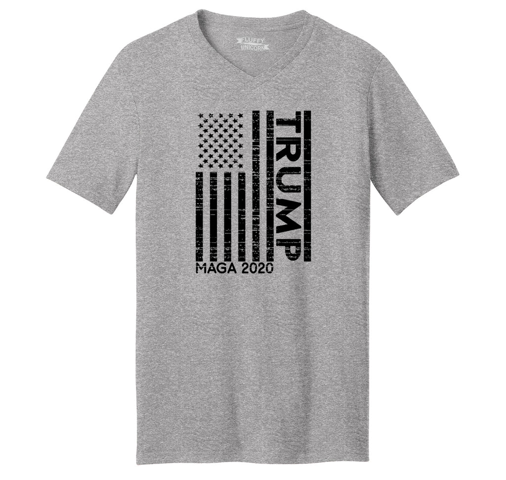 Trump American Flag MAGA 2020 Mens Short Sleeve Ringspun V Neck