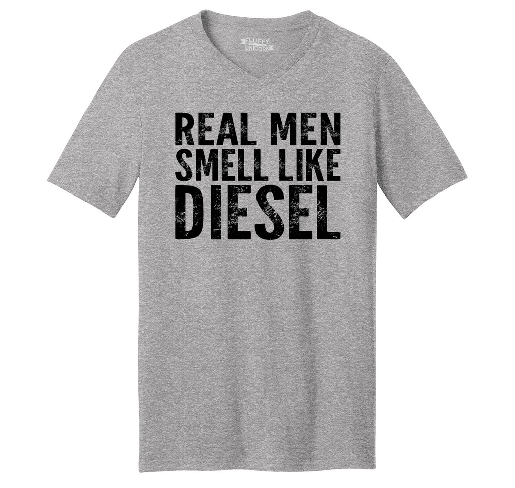 Real Men Smell Like Diesel Mens Short Sleeve Ringspun V Neck