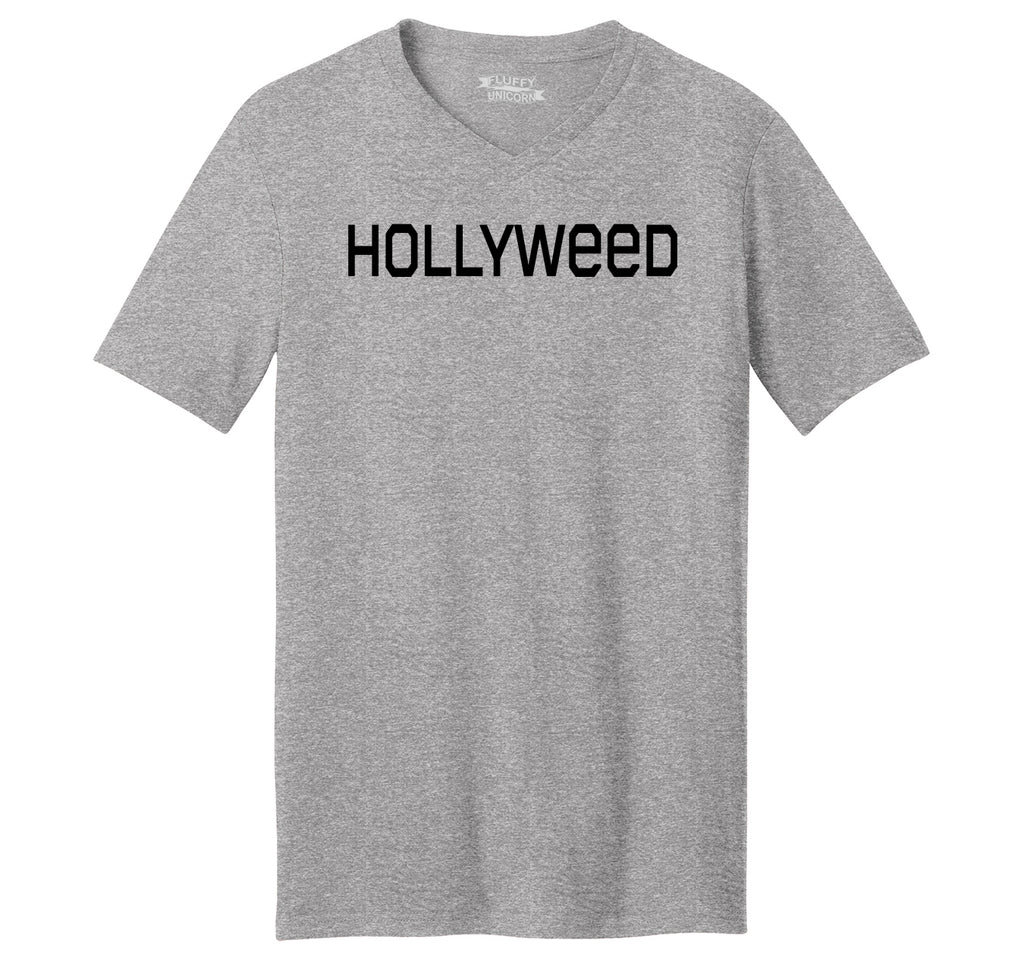 Hollyweed Funny Tee CA LA Hollywood Sign News Weed Stoner Cali Gift Tee Mens Short Sleeve Ringspun V Neck