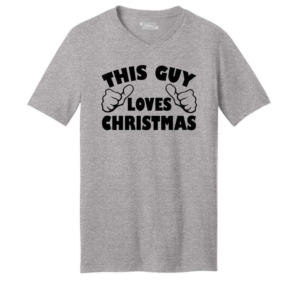 This Guy Loves Christmas Mens Short Sleeve Ringspun V Neck