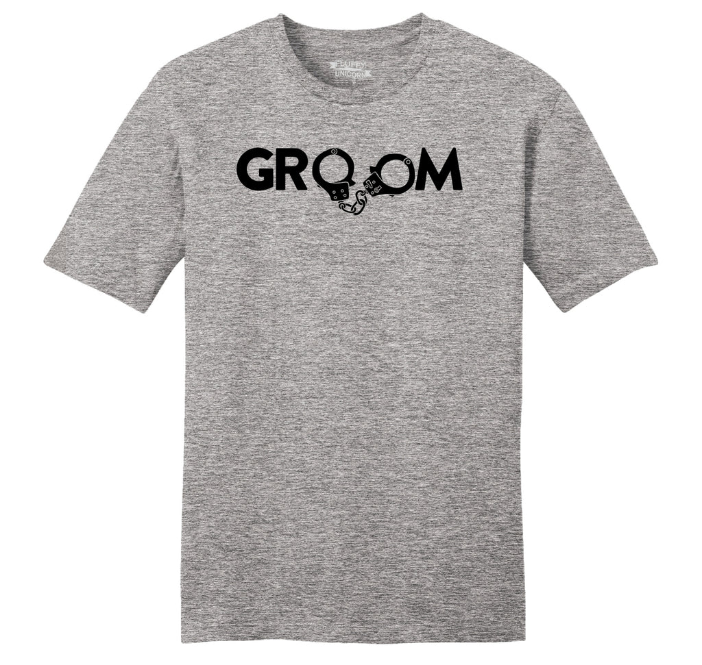 Groom Handcuffs Funny Marriage Wedding Gift Shirt Mens Ringspun Cotton Tee Shirt