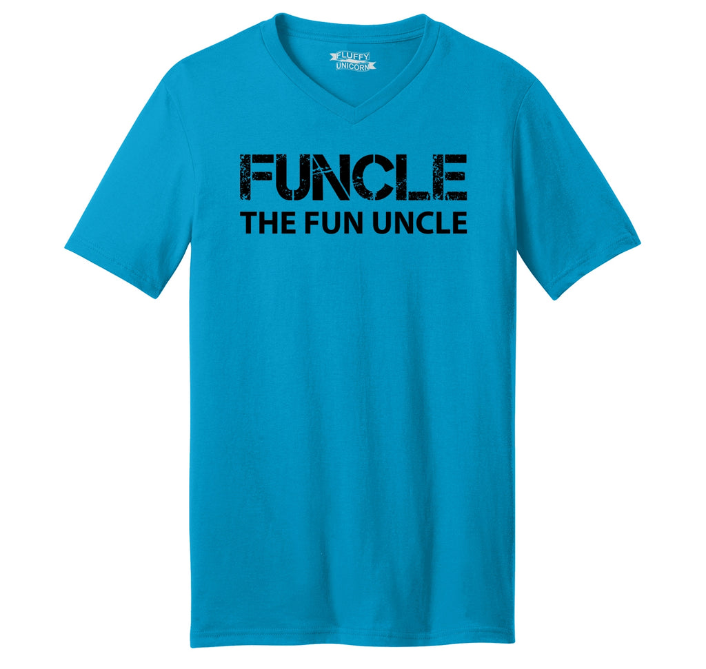 Funcle Fun Uncle Funny Tee Uncle Brother Gift Tee Mens Short Sleeve Ringspun V Neck