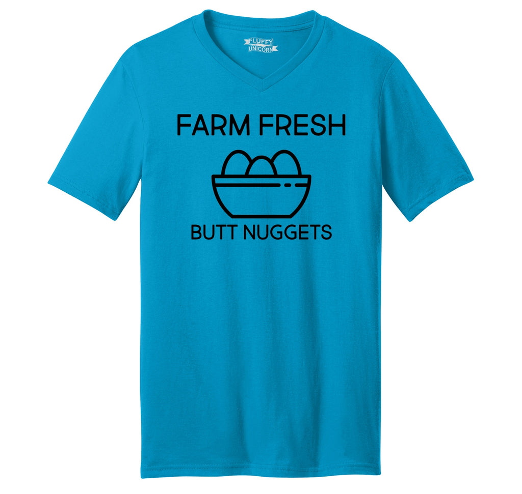 Farm Fresh Butt Nuggets Mens Short Sleeve Ringspun V Neck