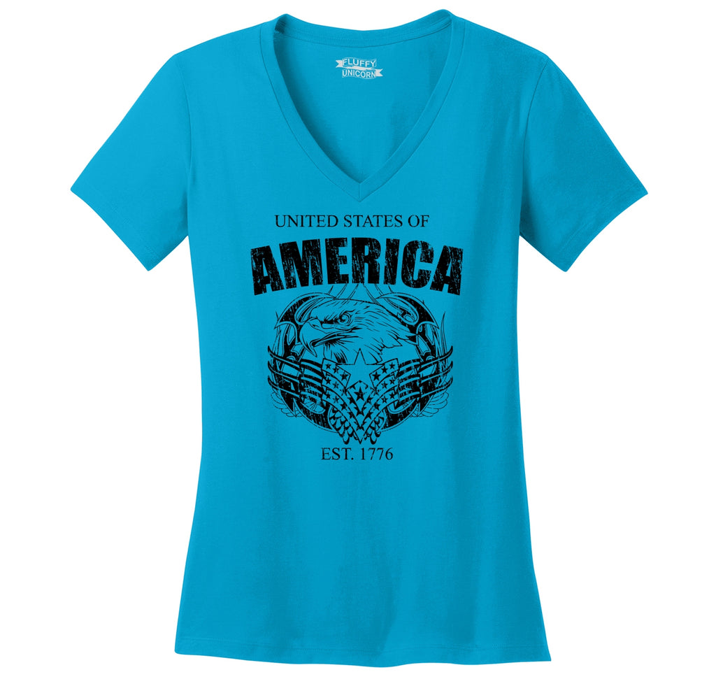 United States Of America Est. 1776 T Shirt American Pride USA Gift Tee Ladies Ringspun V-Neck Tee