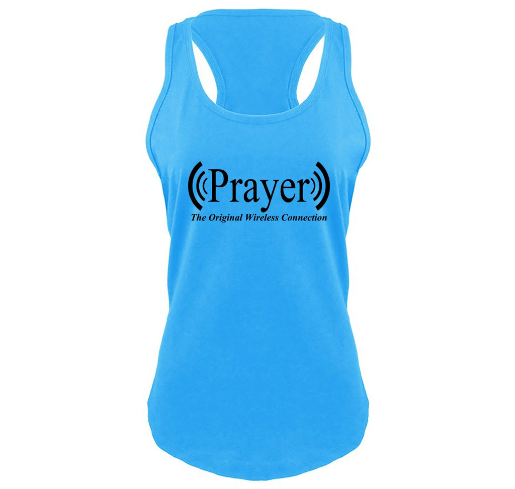 Prayer The Original Wireless Connection Ladies Gathered Racerback Tank Top
