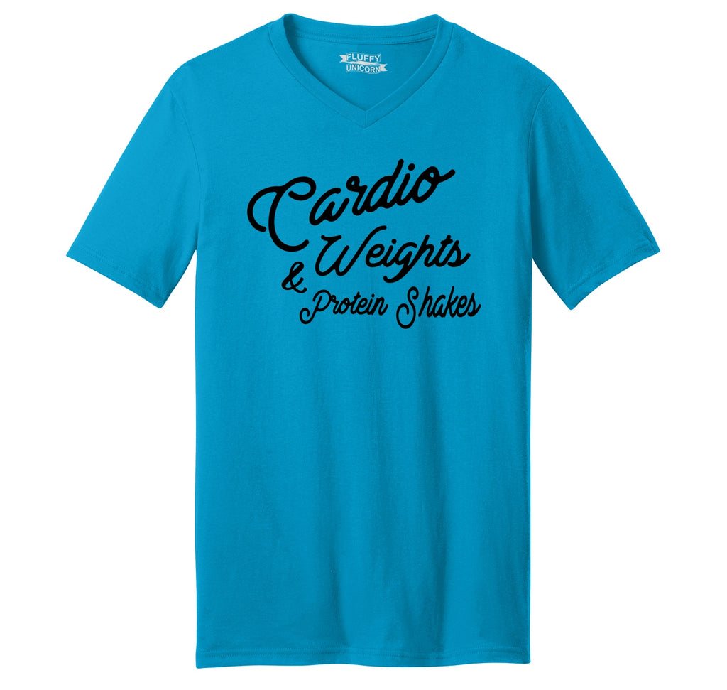 Cardio Weights & Protein Shakes Mens Short Sleeve Ringspun V Neck