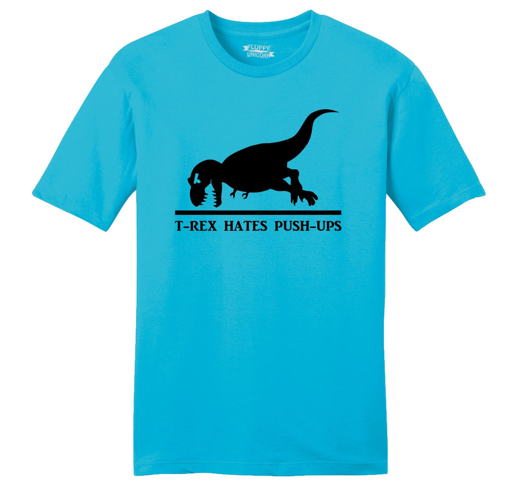 T-Rex Hates Pushups Mens Ringspun Cotton Tee Shirt