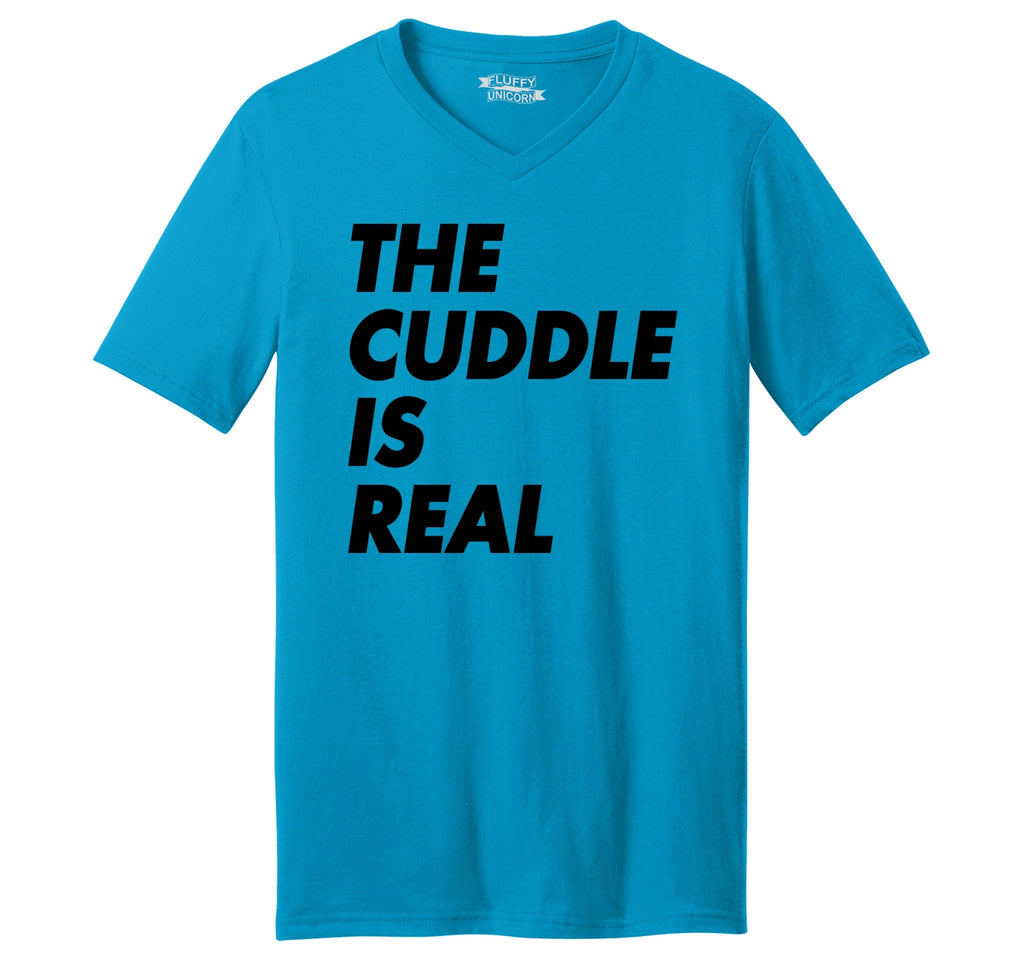 The Cuddle Is Real Funny Tee Valentines Day Gift Tee Mens Short Sleeve Ringspun V Neck