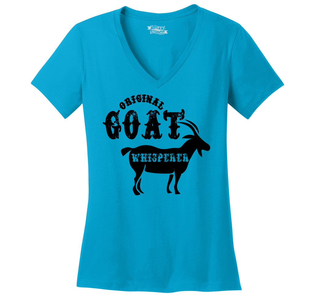 Original Goat Whisperer Ladies Ringspun V-Neck Tee