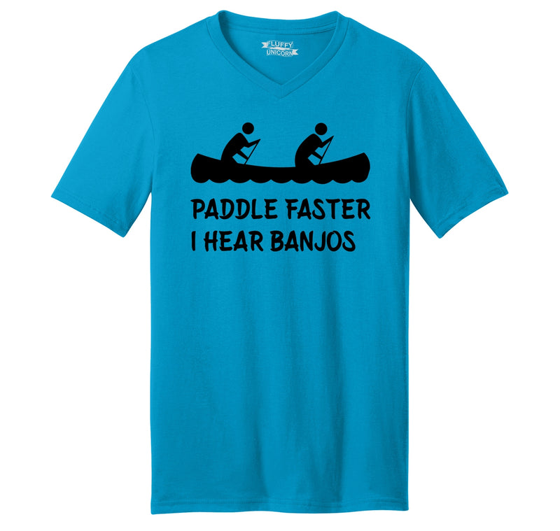 Paddle Faster I Hear Banjos Mens Short Sleeve Ringspun V Neck