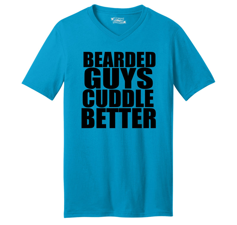 Bearded Guys Cuddle Better Mens Short Sleeve Ringspun V Neck