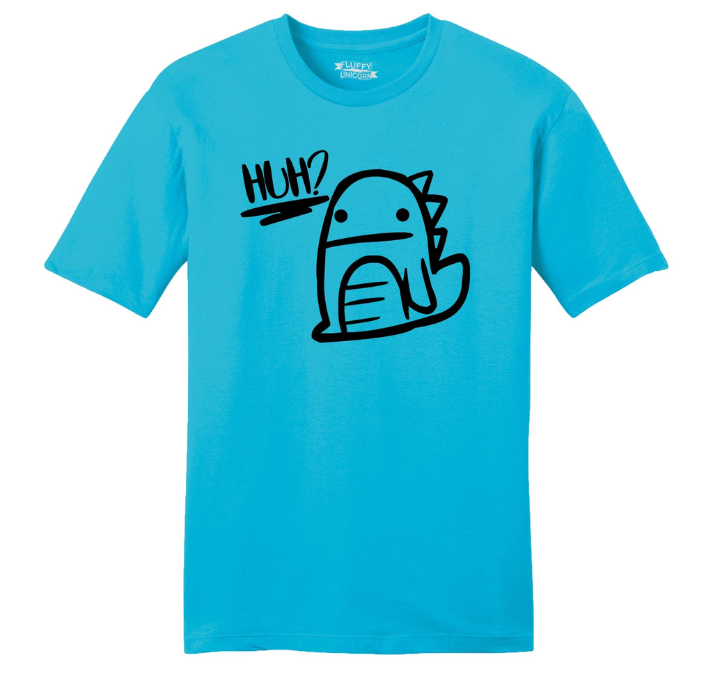 Huh? Confused Dinosaur Graphic Tee Cute Dino Graphic Party Tee Mens Ringspun Cotton Tee Shirt