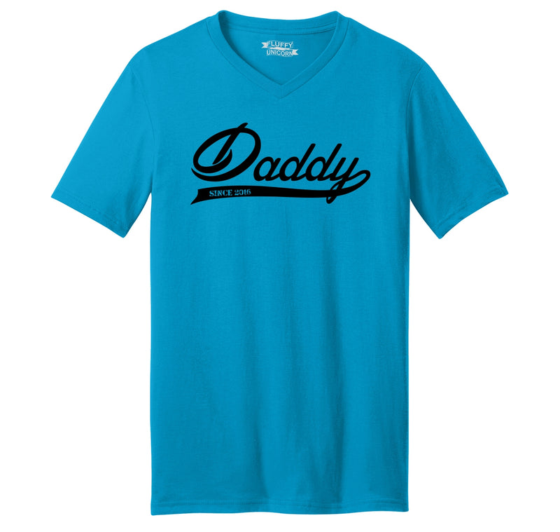 Daddy Since 2016 Mens Short Sleeve Ringspun V Neck